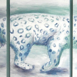 Sneeuwluipaard - drieluik in acryl, 200cm x 80cm (2017)