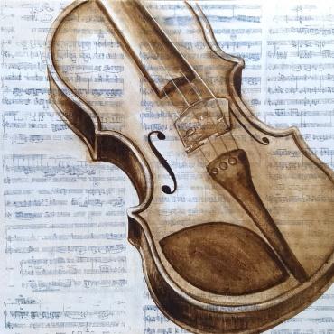 Viool nr. 2 - bister op doek 50x50 (2017)
