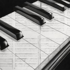 Geschilderd op partituren van Ludovico Einaudi - Acryl op doek, 60x80 (2017)