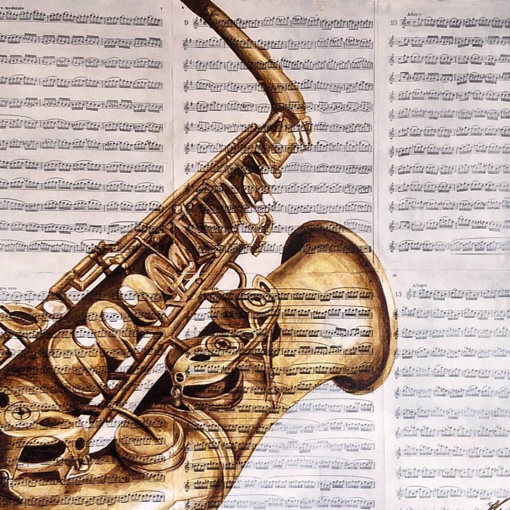 Saxofoon schilderij n°2 op partituren - Dagdromen op Doek