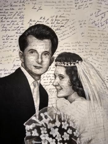 huwelijksportret op oude liefdesbrieven (2)