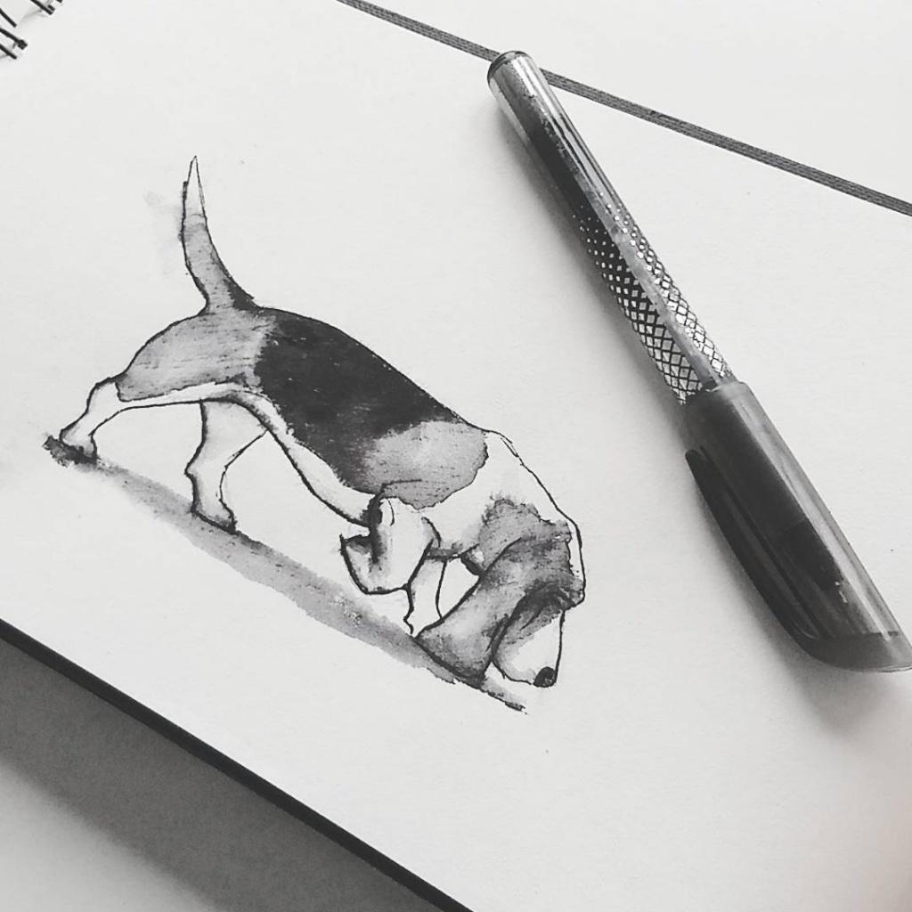 Voor Inktober 2017 tekende ik dagelijks met inkt. Hier zie je opdracht 22 'Trail'. Door de opdrachten teken je dingen waar je anders niet aan zou denken.