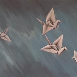 Duizend kraanvogels - acrylverf op doek, 40x120cm (2018)