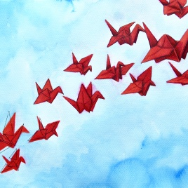 Pursuit of happiness, origami in volle vlucht - écoline op aquarelpapier, 24x32cm (2018)